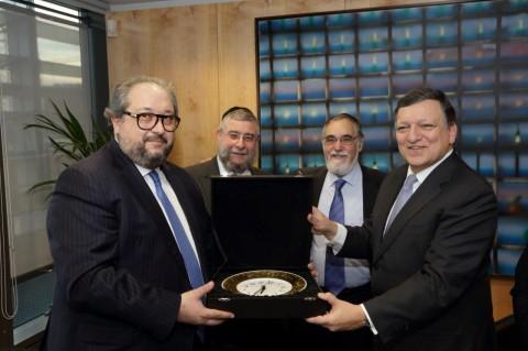 נשיא הועידה והרבנים במפגש עם נשיא הנציבות האירופית בבריסל (5)