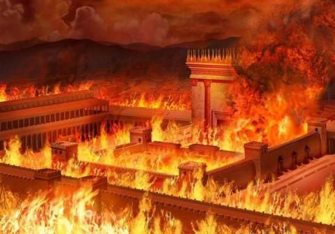 הדמיית בית המקדש בלהבות