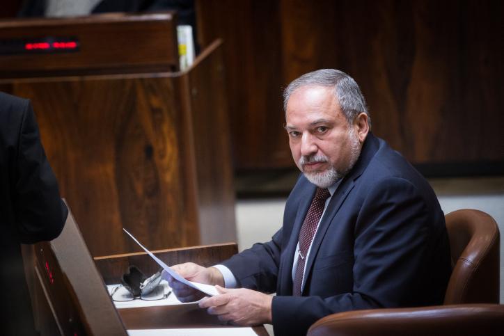 שר הביטחון, אביגדור ליברמן, במליאת הכנסת