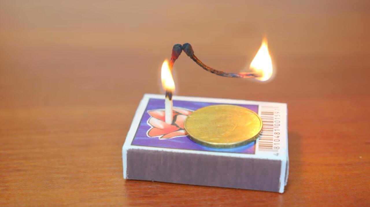 טריק גפרורים גפרר מטבע אש