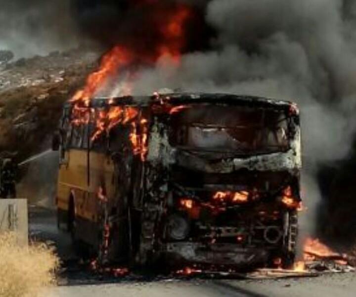 """אוטובוס שרוף ביו""""ש"""