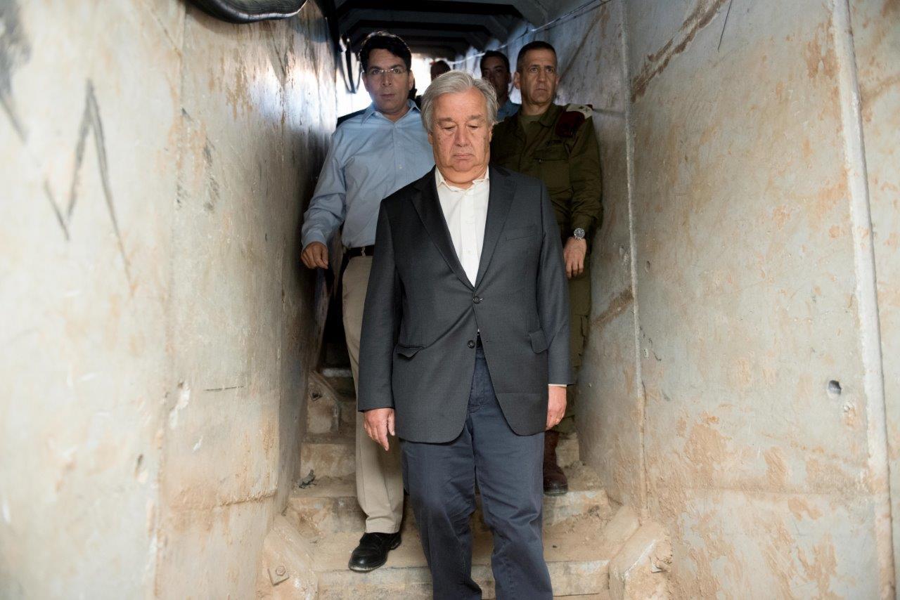 """מזכ""""ל האו""""ם במנהרה שנחשפה"""