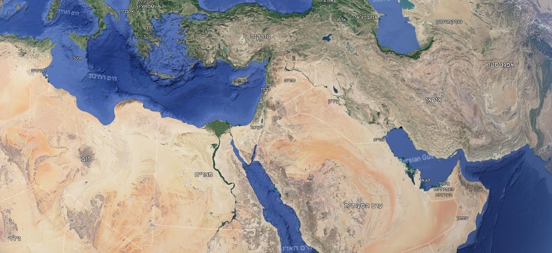 מפת המדינות שסביב ישראל
