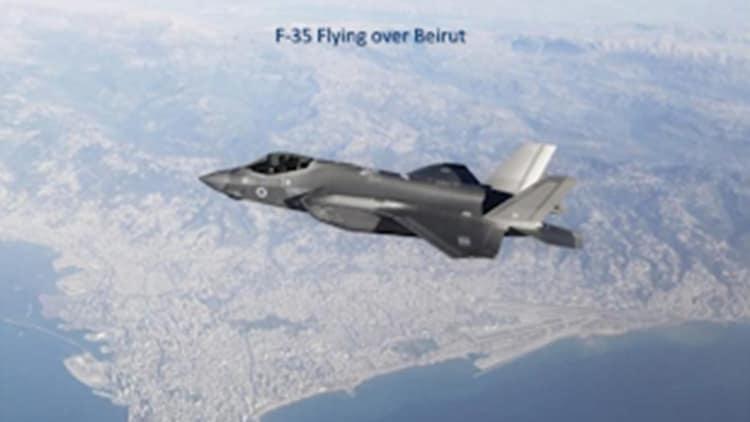 מטוס ה-F35I מעל ביירות קרוב לרובע החיזבאללה, מבלי שהתגלה על ידי מערכות ההגנה