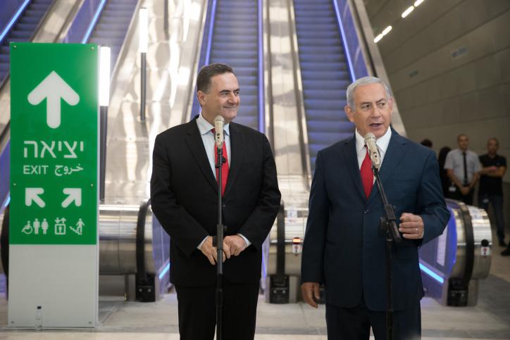 נתניהו וכץ בחנוכת הרכבת החדשה מירושלים לתל אביב. בתחנת נבון בירושלים