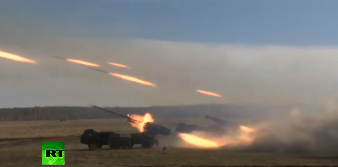 עשרות רקטות משוגרות בתרגיל של הצבא הרוסי