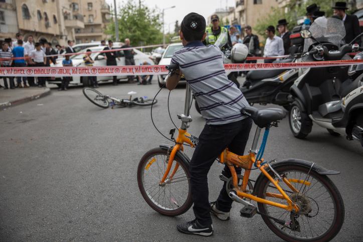 זירת תאונה קטלנית עם אופניים