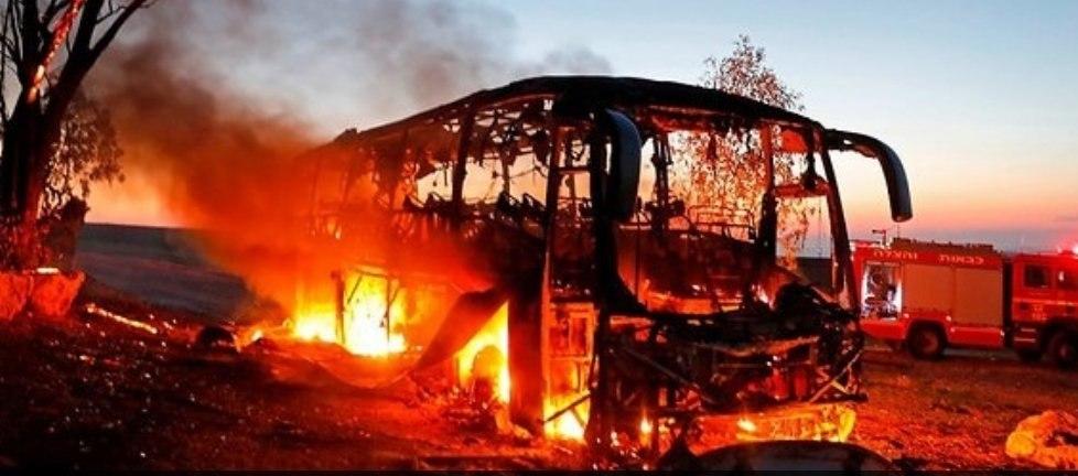 האוטובוס לאחר הפגיעה