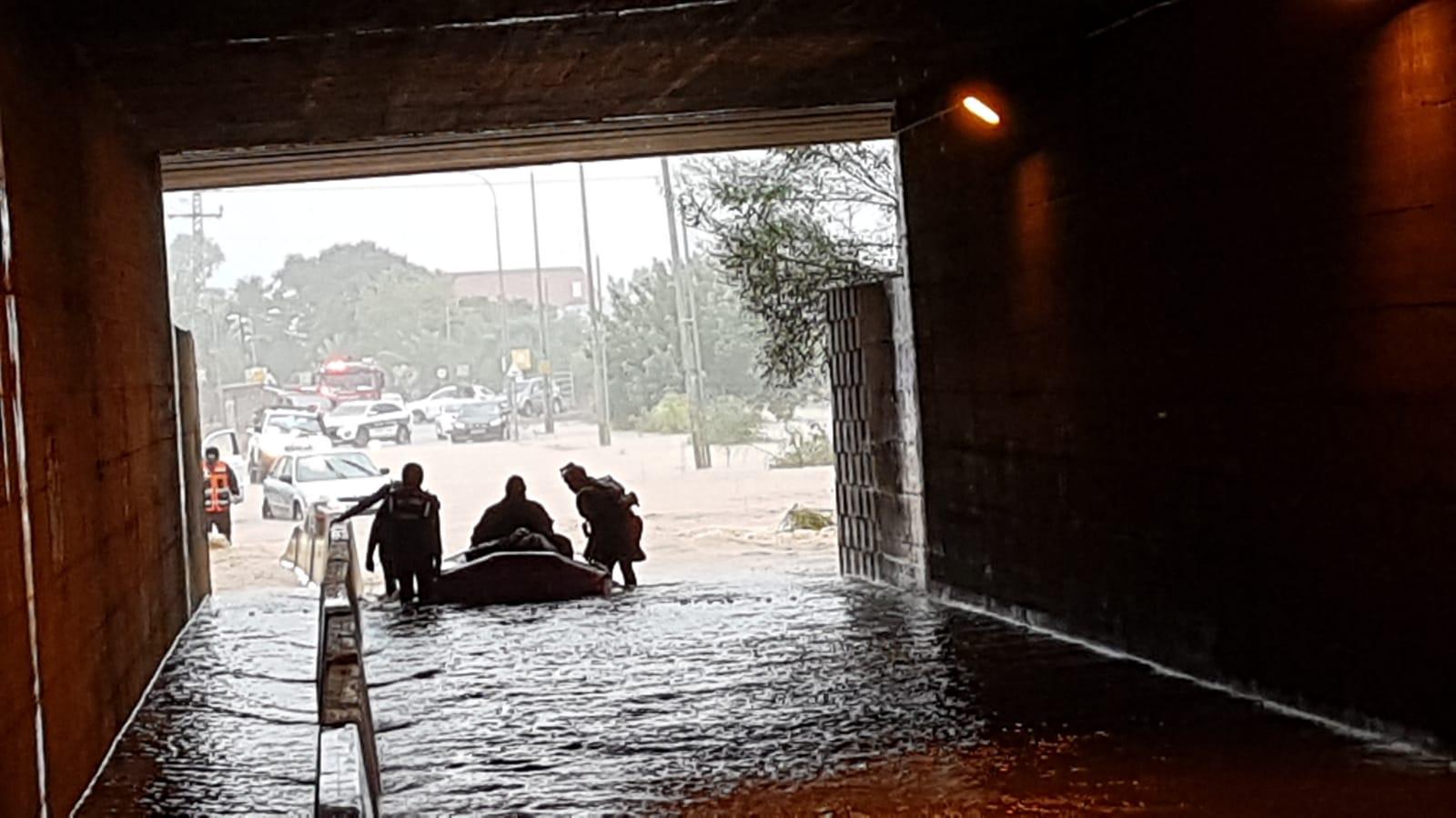 חילוץ בכפר חבד עקב הצפות