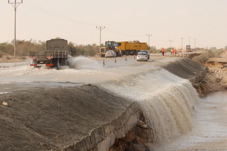 A fluided road in West of Negev Desert near Revivim