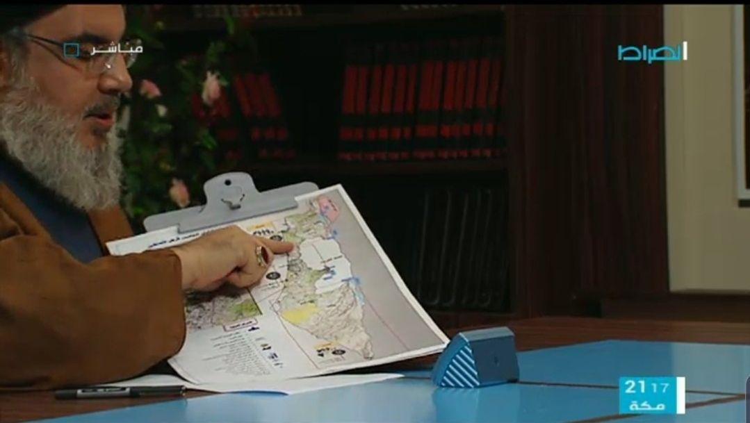 """מזכ""""ל חיזבאללה חסן נצראללה בריאיון מציג את מפת המטרות"""