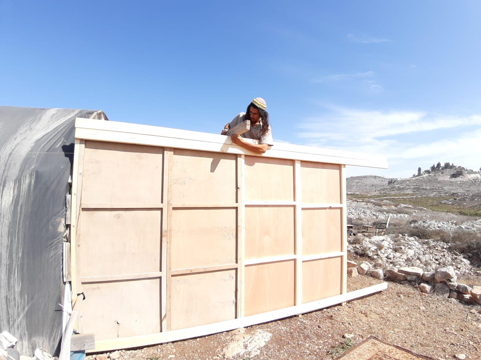 זארוג בבניית הסוכה