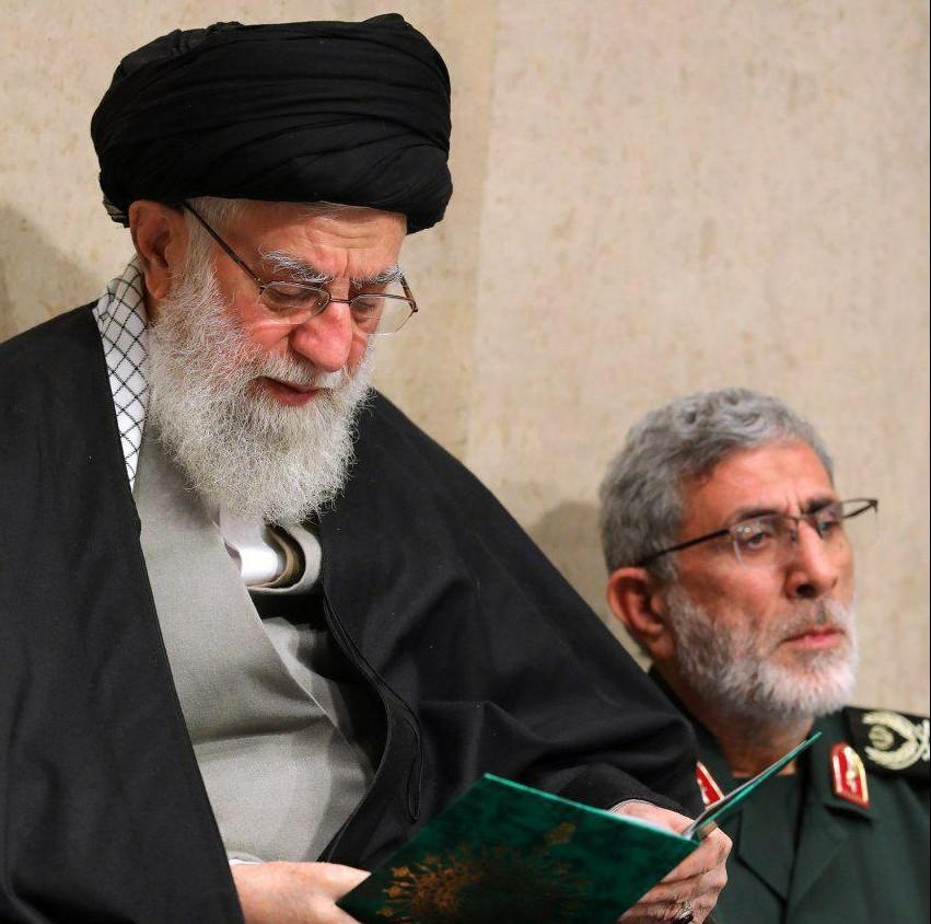 מנהיג איראן חמינאי עם מפקד כוח קודס החדש איסמעיל קאאני
