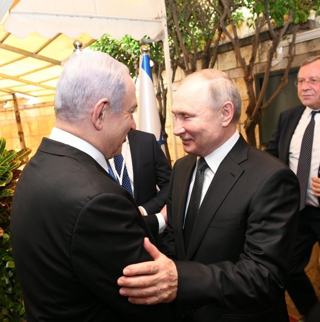 פוטין עם נתניהו בפתח מעון ראש הממשלה