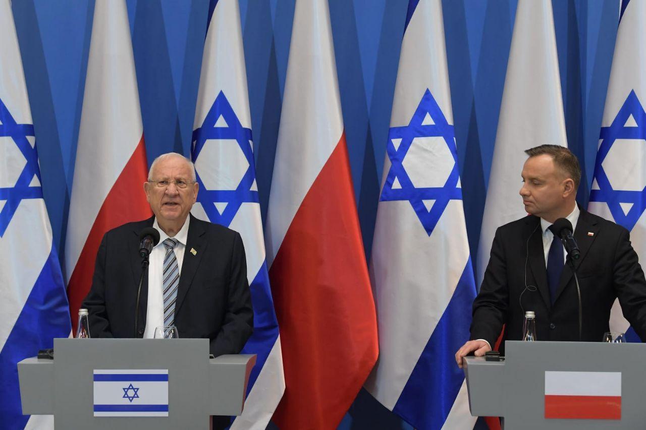 נשיא המדינה עם הנשיא הפולני בהצהרה לתקשורת