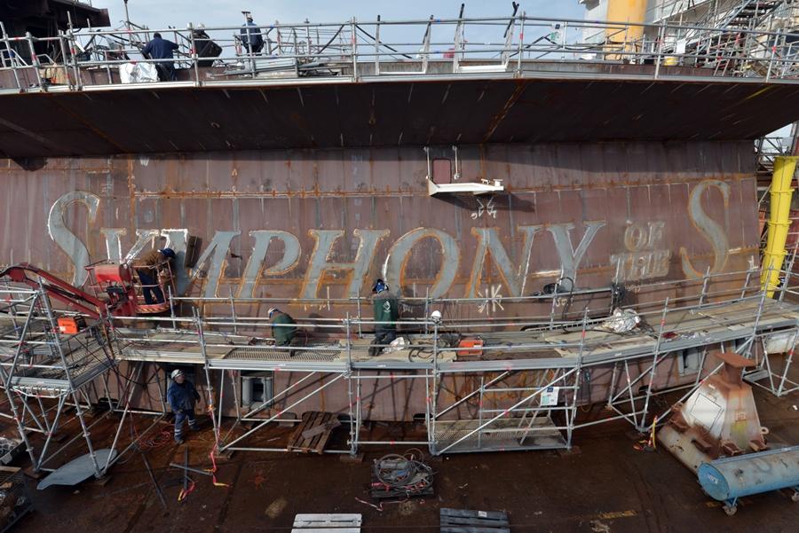 בניית אניית אואזיס של רויאל קריביאן - Symphony of the Seas במספנה בצרפת (1)